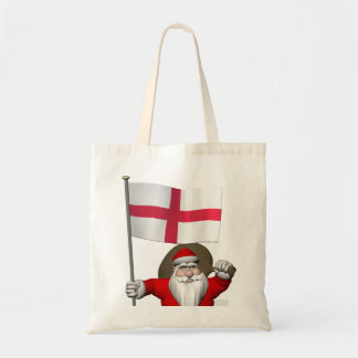 Santa Claus With Ensign Of England Tote Bag