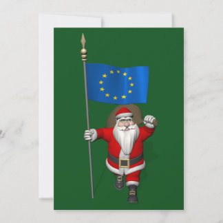 Santa Claus With Ensign Of European Union Holiday Card