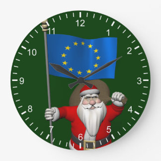 Santa Claus With Ensign Of European Union Large Clock