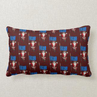 Santa Claus With Ensign Of European Union Lumbar Pillow