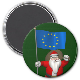 Santa Claus With Ensign Of European Union Magnet