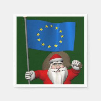 Santa Claus With Ensign Of European Union Napkin