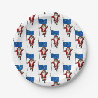Santa Claus With Ensign Of European Union Paper Plate