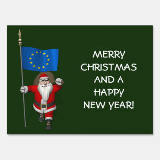 Santa Claus With Ensign Of European Union Sign