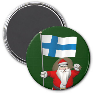 Santa Claus With Ensign Of Finland 3 Inch Round Magnet