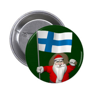 Santa Claus With Ensign Of Finland Button