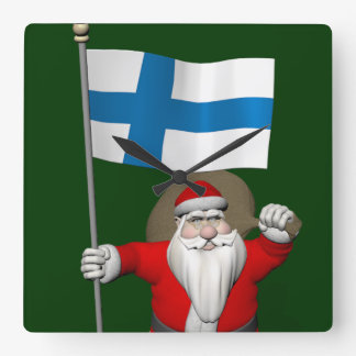 Santa Claus With Ensign Of Finland Square Wall Clock