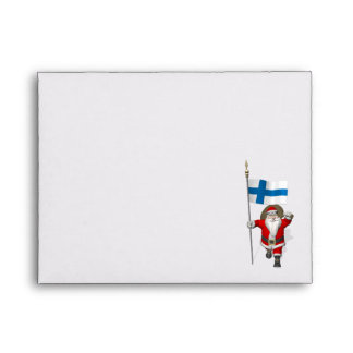 Santa Claus With Ensign Of Finland Envelope