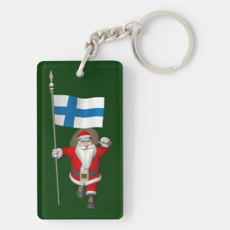 Santa Claus With Ensign Of Finland Keychain