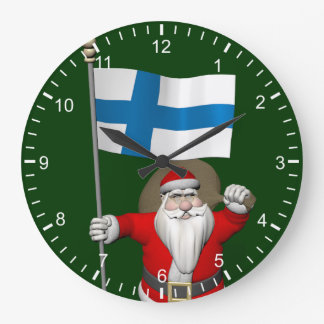 Santa Claus With Ensign Of Finland Large Clock