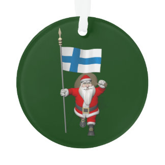 Santa Claus With Ensign Of Finland Ornament