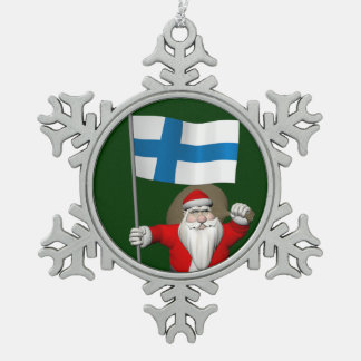 Santa Claus With Ensign Of Finland Snowflake Pewter Christmas Ornament