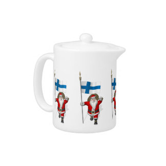 Santa Claus With Ensign Of Finland Teapot