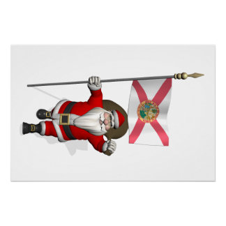 Santa Claus With Ensign Of Florida Poster