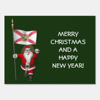 Santa Claus With Ensign Of Florida Sign