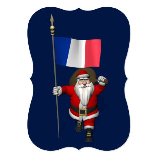 Santa Claus With Ensign Of France 5x7 Paper Invitation Card