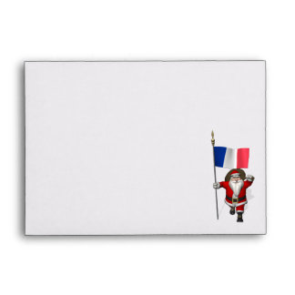 Santa Claus With Ensign Of France Envelope