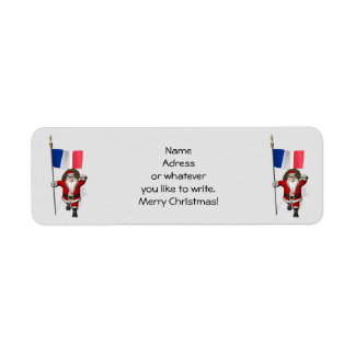 Santa Claus With Ensign Of France Label