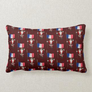 Santa Claus With Ensign Of France Lumbar Pillow