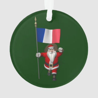 Santa Claus With Ensign Of France Ornament