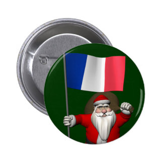 Santa Claus With Ensign Of France Pinback Button