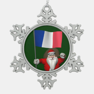 Santa Claus With Ensign Of France Snowflake Pewter Christmas Ornament