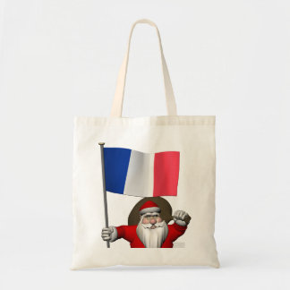 Santa Claus With Ensign Of France Tote Bag