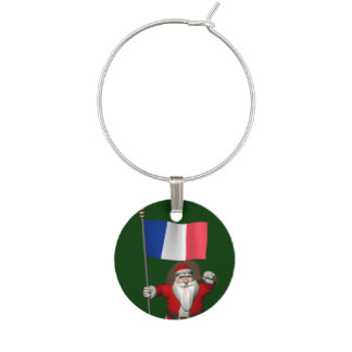 Santa Claus With Ensign Of France Wine Glass Charm
