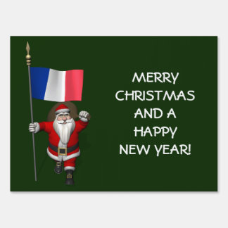 Santa Claus With Ensign Of France Yard Sign