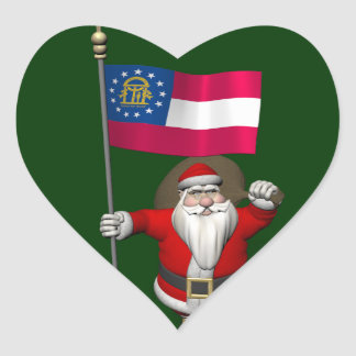 Santa Claus With Ensign Of Georgia Heart Sticker