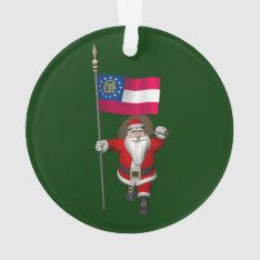 Santa Claus With Ensign Of Georgia Ornament at Zazzle