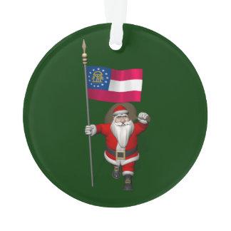 Santa Claus With Ensign Of Georgia Ornament