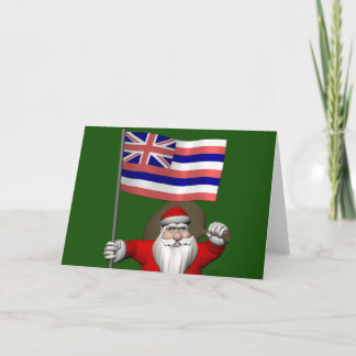 Santa Claus With Ensign Of Hawaii Holiday Card