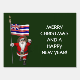 Santa Claus With Ensign Of Hawaii Lawn Sign