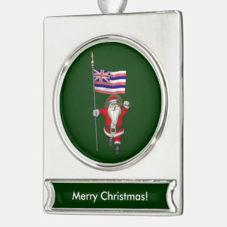 Santa Claus With Ensign Of Hawaii Silver Plated Banner Ornament