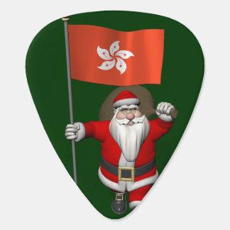 Santa Claus With Ensign Of Hong Kong Guitar Pick