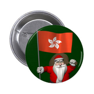 Santa Claus With Ensign Of Hong Kong Pinback Button