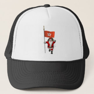 Santa Claus With Ensign Of Hong Kong Trucker Hat