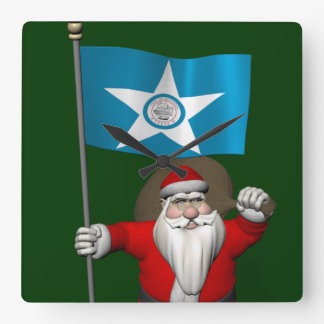 Santa Claus With Ensign Of  Houston Square Wall Clock