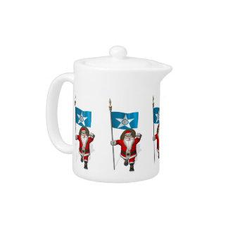 Santa Claus With Ensign Of  Houston Teapot