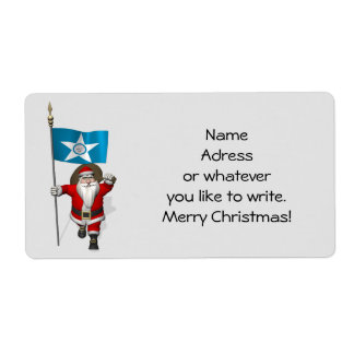 Santa Claus With Ensign Of  Houston TX Label