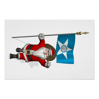 Santa Claus With Ensign Of  Houston TX Poster