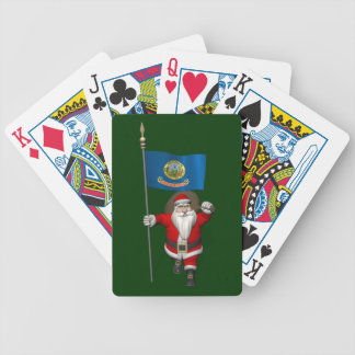 Santa Claus With Ensign Of  Idaho Bicycle Playing Cards
