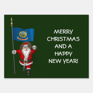 Santa Claus With Ensign Of  Idaho Sign