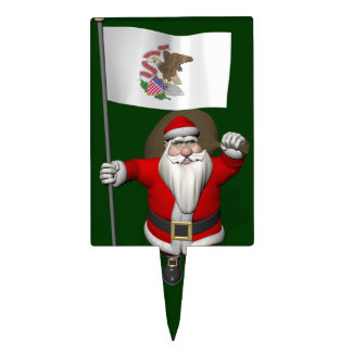 Santa Claus With Ensign Of Illinois Cake Topper
