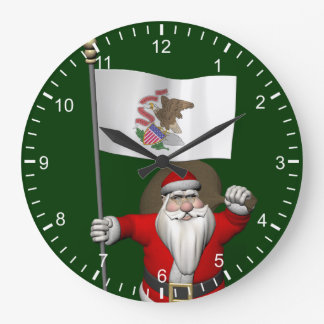 Santa Claus With Ensign Of Illinois Clocks