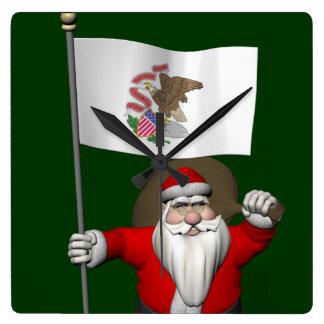 Santa Claus With Ensign Of Illinois Square Wallclock
