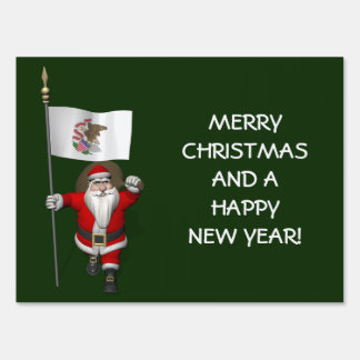 Santa Claus With Ensign Of Illinois Yard Sign