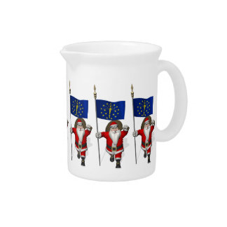 Santa Claus With Ensign Of Indiana Beverage Pitcher