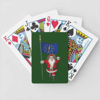 Santa Claus With Ensign Of Indiana Bicycle Playing Cards